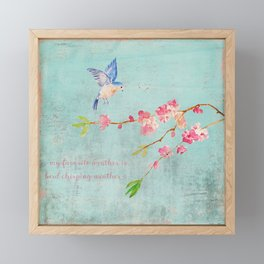 My favorite weather - Romantic Birds Cherryblossoms and Spring Typography on teal Framed Mini Art Print