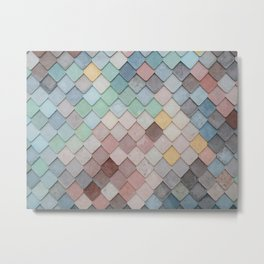Pastel Rainbow Mermaid Scales Metal Print