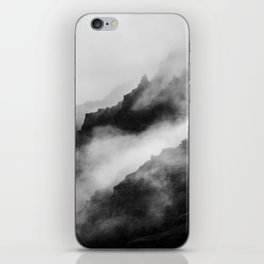 Foggy Mountains Black and White iPhone Skin