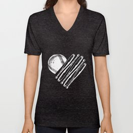 Baseball Bat Heart Softball Season Love Mom Coach Game Women's Raglan Baseball T-Shirts Unisex V-Neck