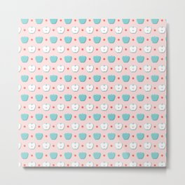 Apple Christmas Pattern over Pink Background Metal Print