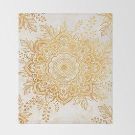 Queen Starring of Mandala-Gold Sunflower I Throw Blanket