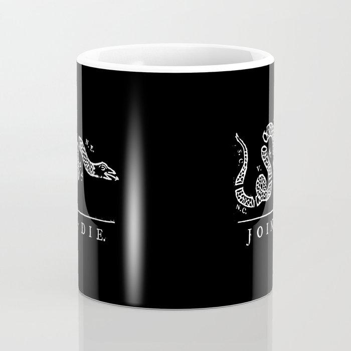 Join or die - white on black version Coffee Mug
