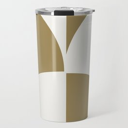 Diamond Series Round Checkers White on Gold Travel Mug
