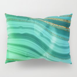 Ocean Blue And Green Mermaid Glamour Marble Pillow Sham