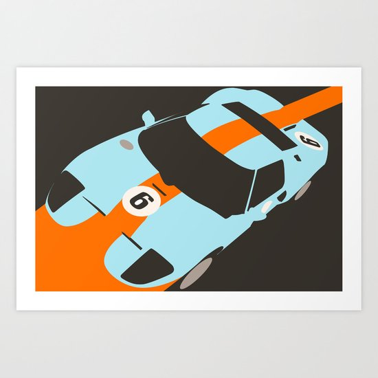 Orange Notch - Ford GT40 Race Car Art Print