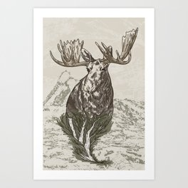 Guardian of the Hinterland (moose) Art Print