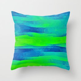 Lime Green & Blue Stripes Abstract Throw Pillow