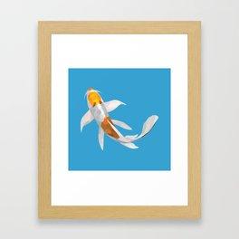 Geo Koi White & Golden Framed Art Print