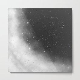 Monochrome Black and White Galaxy Pattern Metal Print