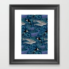 Beautiful Ocean Giants - teal Framed Art Print