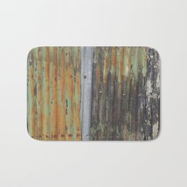 corrugated rusty metal fence paint texture Bath Mat