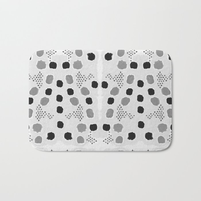 Jordan - black and white grey minimal modern dorm college trendy abstract painting dots brushstrokes Bath Mat