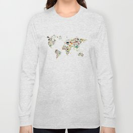 Cartoon animal world map for children and kids, Animals from all over the world on white background Long Sleeve T-shirt