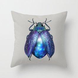 Black Opal Beetle Throw Pillow