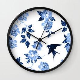 Oriental peonies in sapphire blue Wall Clock