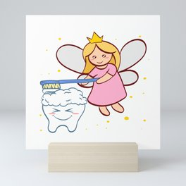 Tooth Fairy Brushing A Cute White Teeth Great Gift For Dentists Doctors, Dental Technician T-shirt Mini Art Print