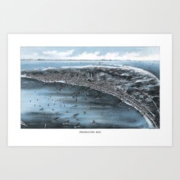 PROVINCETOWN MASSACHUSETTS city old map Father Day art print poster Art Print
