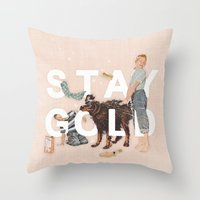 stay gold Throw Pillows featuring Stay Gold by Heather Landis