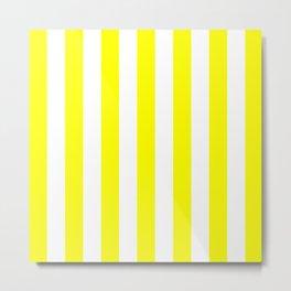 Vertical Stripes (Yellow/White) Metal Print