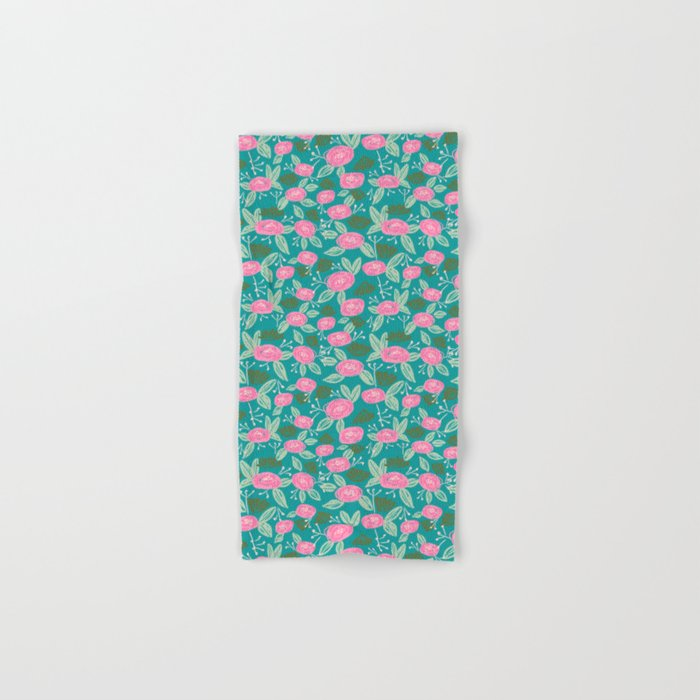 Turquoise blossom blooms painting abstract pattern garden gardener plants summer spring bright  Hand & Bath Towel