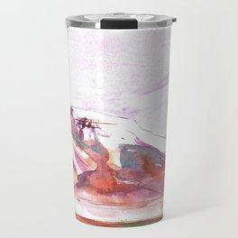 Three Jewels Watercolor Painting of Three Tipis Travel Mug