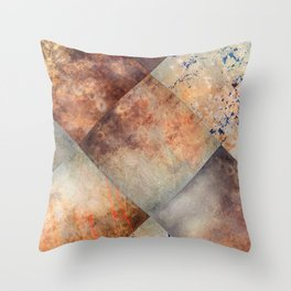 Diamond-Shaped Mercury Glass Colored Panels Throw Pillow