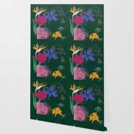 Dark Fall Flower Pattern for Home Goods Emerald Green Magenta Wallpaper