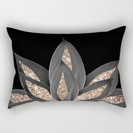 Gray Black Agave with Gold Glitter #1 #shiny #tropical #decor #art #society6 Rectangular Pillow