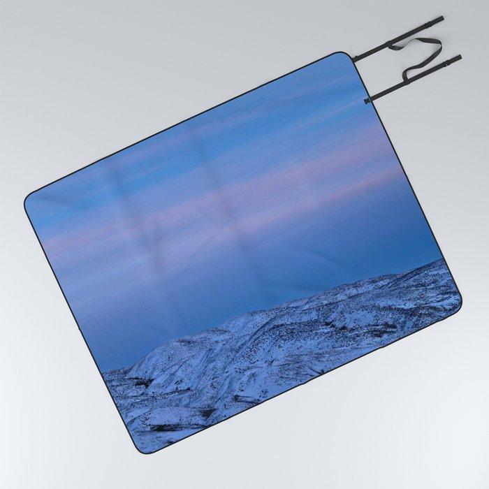 Snowy Mountain Climb Picnic Blanket