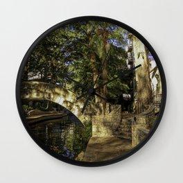 San Antonio Riverwalk La Mansion Hotel And Bridge Wall Clock