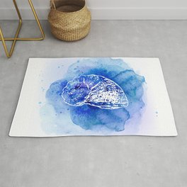 Blue Abstract Watercolor Seashell Rubber Stamp on White 1 Minimalist Coastal Art Rug