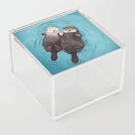 Otterly Romantic - Otters Holding Hands Acrylic Box