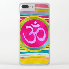 Colorfull Glitter OM symbol on  Pattern Clear iPhone Case