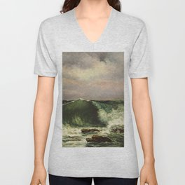 """Gustave Courbet """"The Wave 1869 private"""" Unisex V-Neck"""