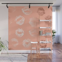 Sweet Life Lips Peach Coral Pink Shimmer Wall Mural