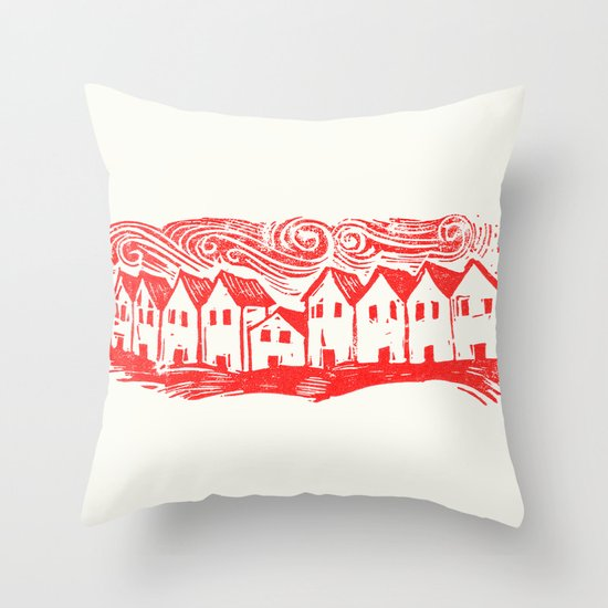 Sad Row (Red) Throw Pillow