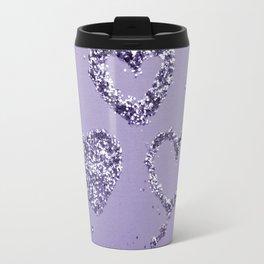Ultra Violet LOVE Glitter Hearts #1 #shiny #decor #art #society6 Travel Mug