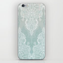 Lace & Shadows - soft sage grey & white Moroccan doodle iPhone Skin