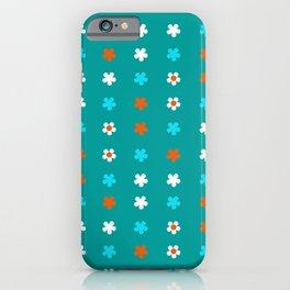 Turquise orange and white flowers iPhone Case