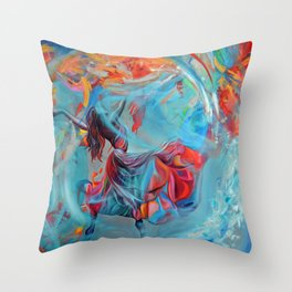 Running inside my dreams, 100-100cm, 2020, oil on canvas Throw Pillow