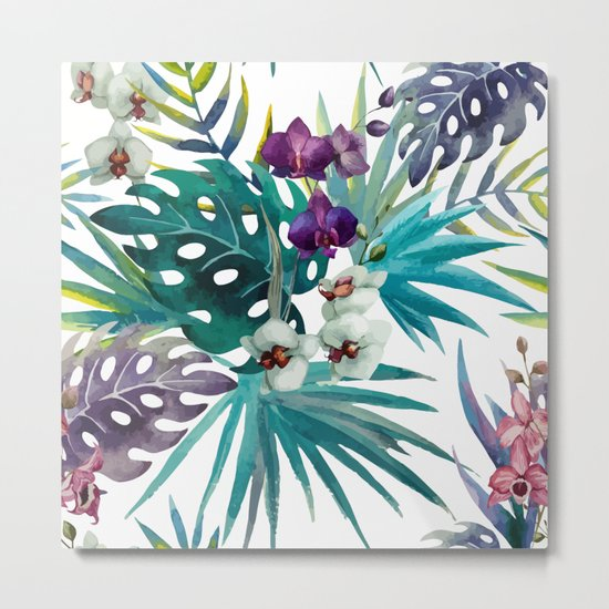 Tropical Floral Pattern 04 Metal Print