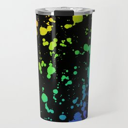 Rainbow Paint Splatter Travel Mug