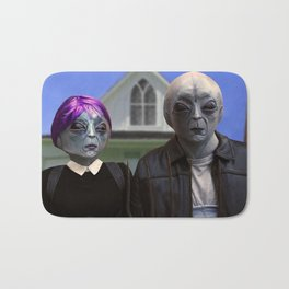 American gothic alien Bath Mat
