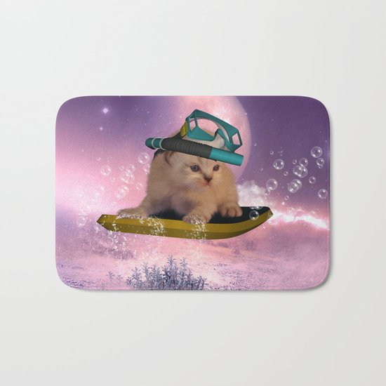 Cute surfing kitten Bath Mat