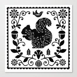 Woodland Folk Black And White Squirrel Tile Canvas Print