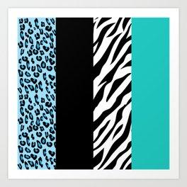 Animal Print, Zebra Stripes, Leopard Spots - Blue Art Print