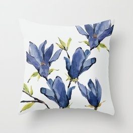 Blue Flowers 3 Throw Pillow