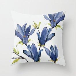 Blue Flowers 3 Throw Pillow