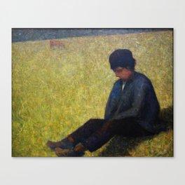 Boy Sitting in a Meadow Canvas Print